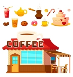 Dessert coffeeshop infographic composition vector