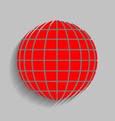 Earth globe sign red icon with soft vector