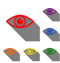 Eye sign set of red orange yellow vector