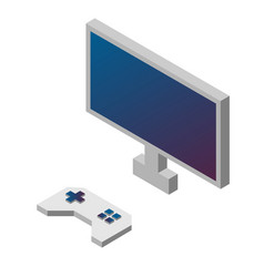 Game controller and monitor isometric vector