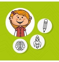 Girl school creative idea vector