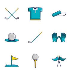 Golf equipment icons set cartoon style vector