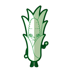 Green silhouette of cartoon corn with leaves and vector
