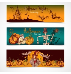 Halloween colored banners horizontal vector image
