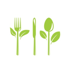 Healthy Food Icon with Cutlery and Leaves vector image