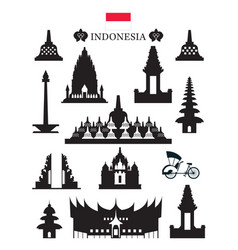 indonesia landmarks architecture building object vector image vector image