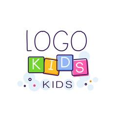 logo kids creative concept template hand drawn vector image vector image