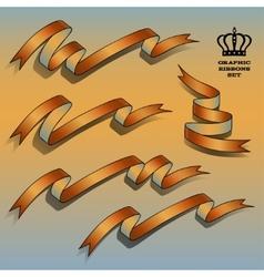 Orange ribbon set vector image