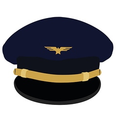 Pilot cap with badge vector