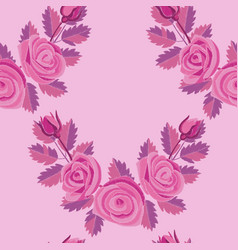 Pink rose corner embroidery seamless pattern vector