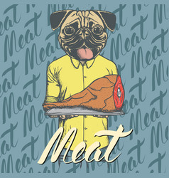 pug dog with meat ham vector image vector image