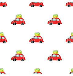 Red car with a luggage on the roof icon in cartoon vector