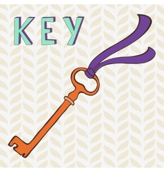 Retro key with ribbon vector image