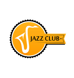 Round logo for sax club in yellow color vector