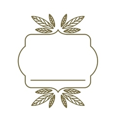 silhouette heraldic decorative frame with leaves vector image