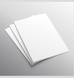 stack of three a4 paper mockup display vector image vector image