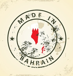 Stamp with map flag of Bahrain vector image vector image