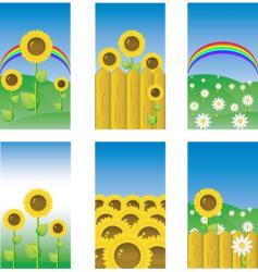 Sunflower banners vector