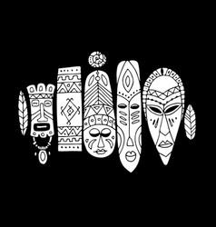 tribal mask ethnic set sketch for your design vector image vector image