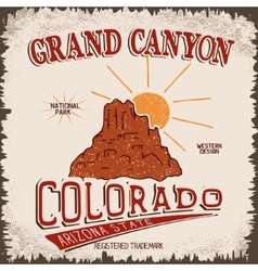 Vintage label with canyon and sun vector image
