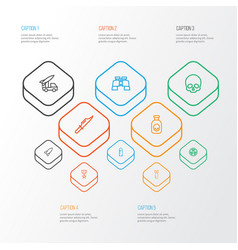 warfare outline icons set collection of cranium vector image vector image
