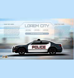 Realistic police car infographic urban city vector