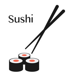 Chopsticks and sushi roll vector