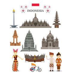 Indonesia landmarks and culture object set vector