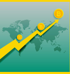 Bitcoins upward trend rising graph background vector