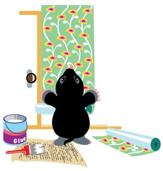 Mole gluing wallpapers vector