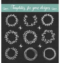 Chalkboard set of floral wreathes vector