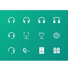 Headphones and headset icons on green background vector