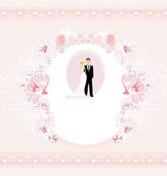 Stylish wedding invitation card with vintage vector
