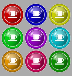 Coffee cup icon sign symbol on nine round vector