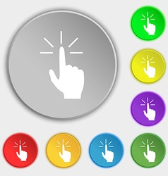 Click here hand icon sign symbols on eight flat vector