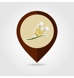 Spikelets wheat mapping pin icon vector