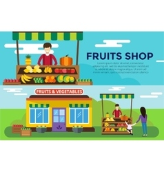 Fruit and vegetables shop counter building vector