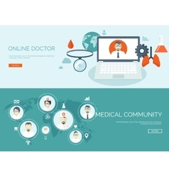 Flat header medical vector