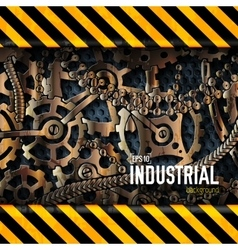 Mechanical realistic rusty gears attention behind vector