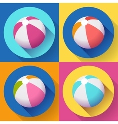 Set of beach ball icons modern flat style with a vector
