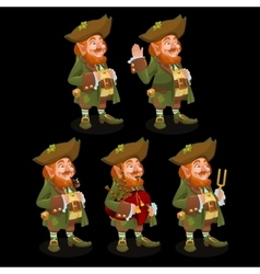 Five traditional leprechauns with different items vector