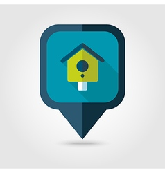 Nesting box bird-house flat pin map icon vector