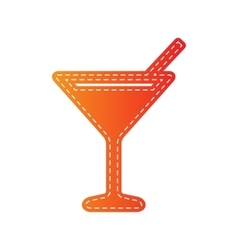 Cocktail sign  orange applique vector