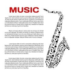 Musical poster with notes in a shape of saxophone vector