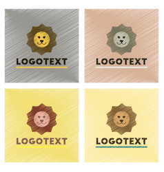 Assembly flat shading style icons lion logo vector