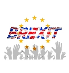 Brexit text isolated art hand flag of the vector