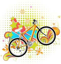 Bright summer background with bicycle vector
