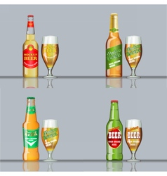 Digital beer set mockup vector image vector image
