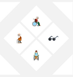 flat icon disabled set of wheelchair ancestor vector image