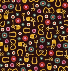 Gold locks horseshoes and flowers vector